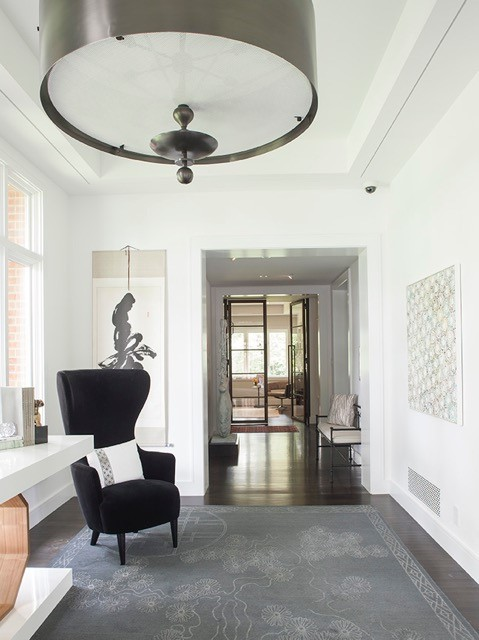 Leave ... & Atrium Foyer toward Gallery and Library Glass Doors | Lori Graham Design